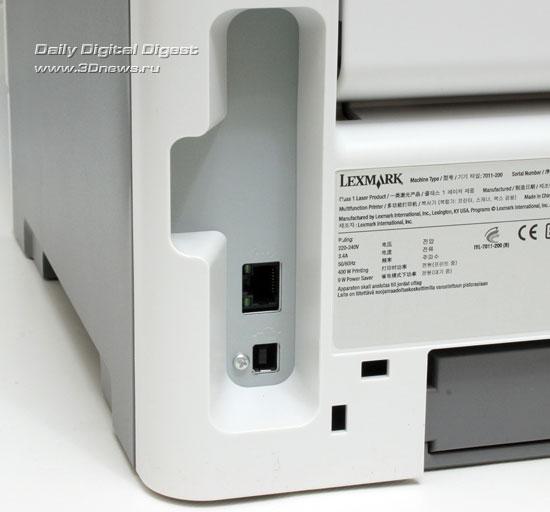 Lexmark x203n. Коммуникационные разъемы
