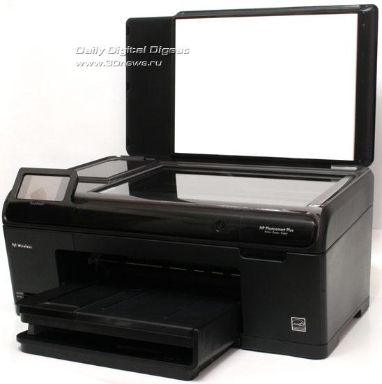 HP Photosmart Plus b209a-m. Вид общий. Открыта крышка сканера