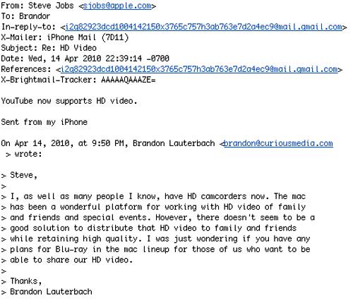 Ответ Стива Джобса на письмо с вопросом о Blu-ray