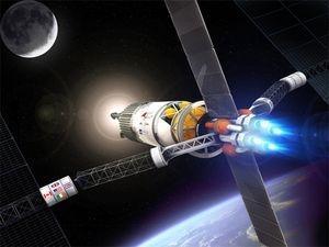 Космический аппарат и ионным двигателем