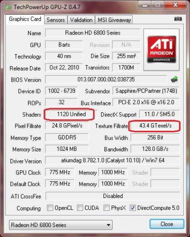 GPU-Z: Sapphire HD 6850 со 1120 шейдерными процессорами