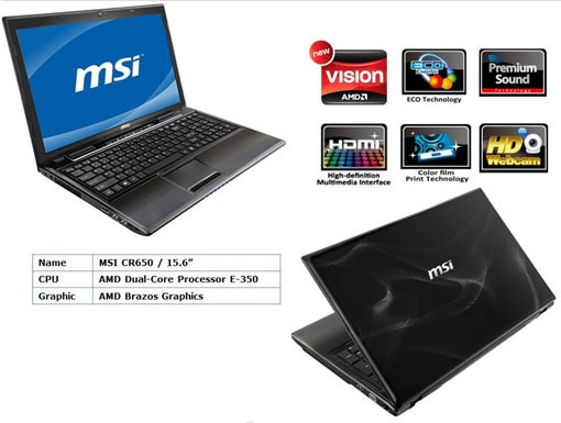 Ноутбук MSI CR650 на базе платформы AMD Brazos