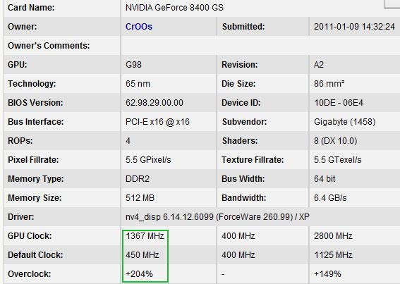 Когда не жалко: GeForce 8400 GS разогнали в три раза