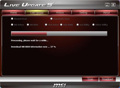 MSI P67A-GD65 Live Update Windows