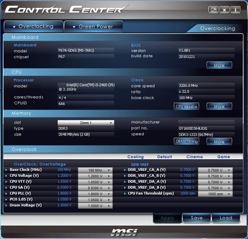 MSI P67A-GD65 Control Center