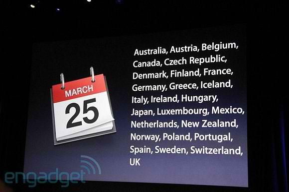 Слайд Apple о международном запуске iPad 2 25 марта