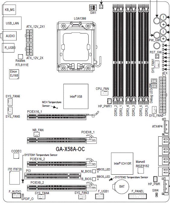 Gigabyte X58A-OC схема