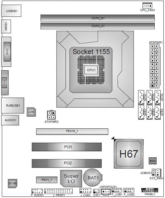 Материнская плата H67MH поддерживает интерфейс UEFI с графической оболочкой. разработки компании AMI...