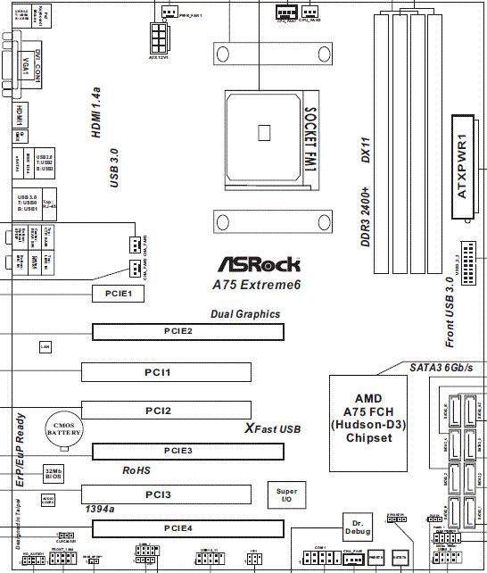 Разъемов для подключения вентиляторов на материнской плате ASRock A75 Extreme6 предусмотрено целых шесть...