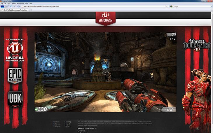 Демонстрация Unreal Engine 3 в веб-браузере