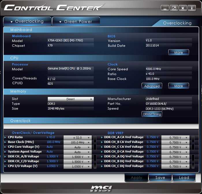 MSI X79A-GD65 (8D) Control Center