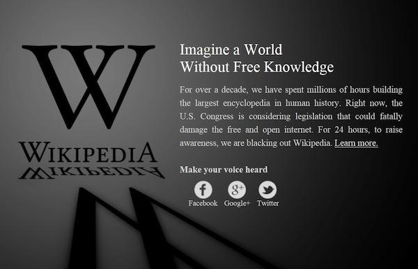 Англоязычная «Википедия» отметила среду протестами