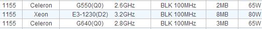 ASRock проговорилась о процессорах Celeron G550 и Pentium G640