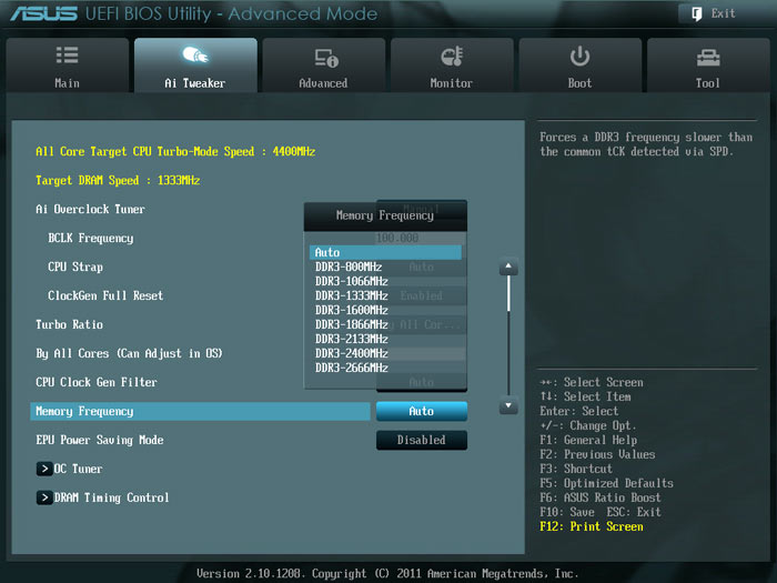 ASUS P9X79 частота памяти