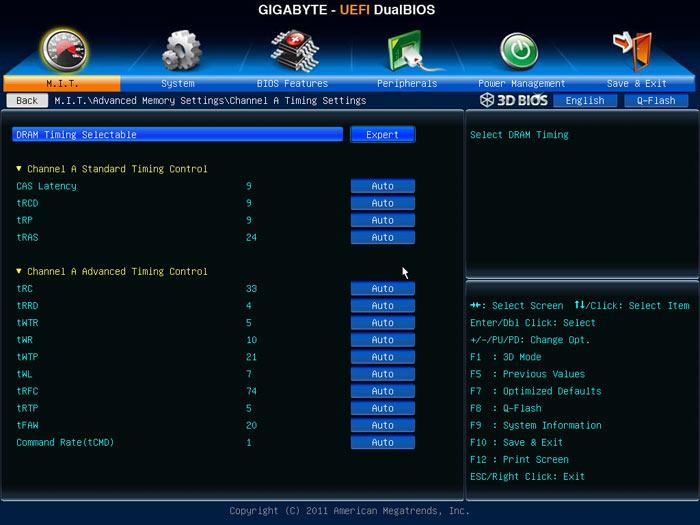 Gigabyte Z77X-UD5H настройки памяти 2