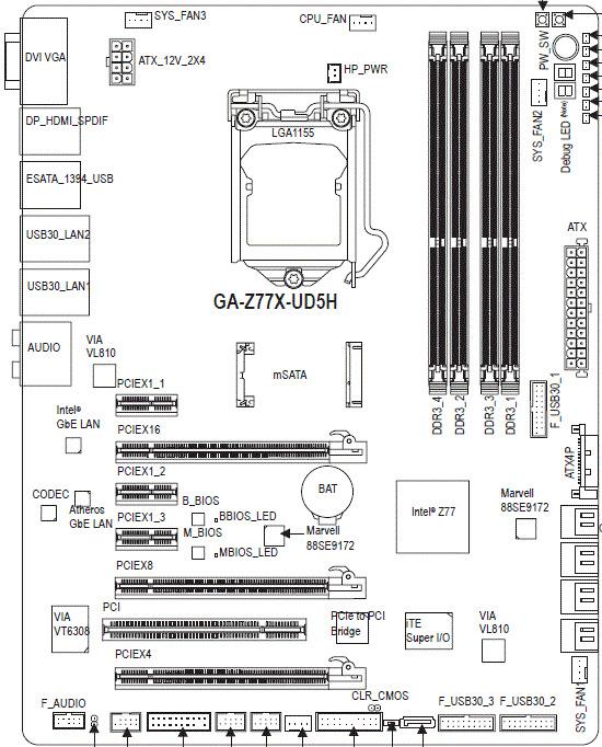 Gigabyte Z77X-UD5H схема