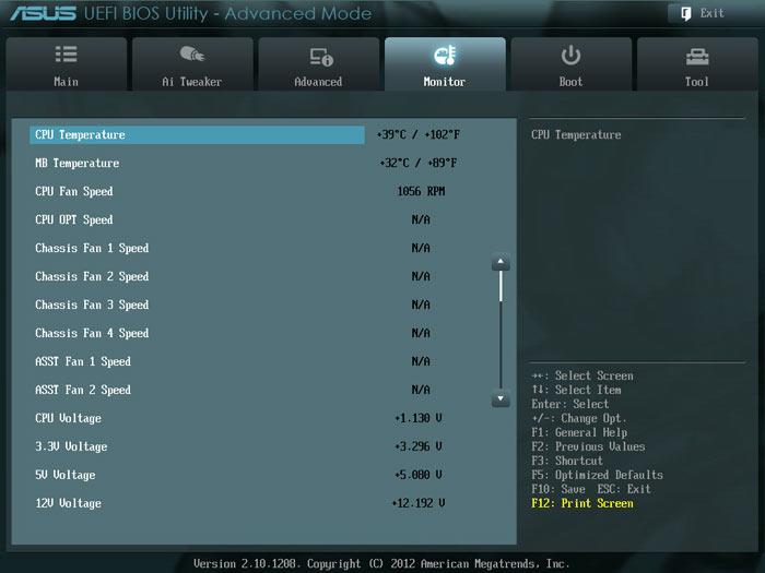 ASUS Sabertooth Z77 системный мониторинг 1