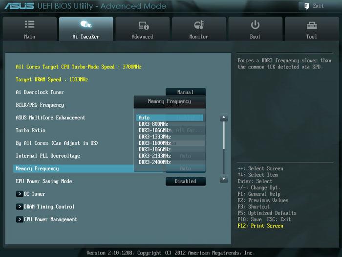 ASUS Sabertooth Z77 частота памяти