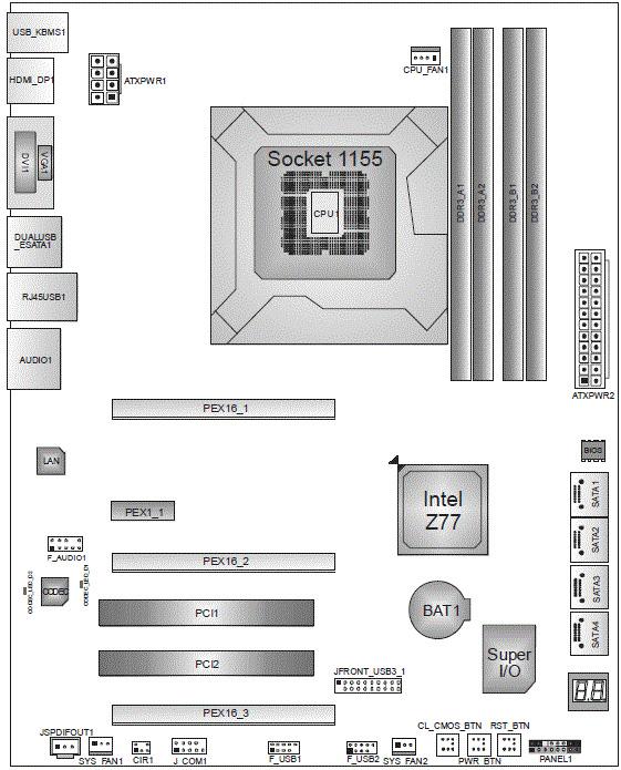 Biostar TZ77XE4 схема.