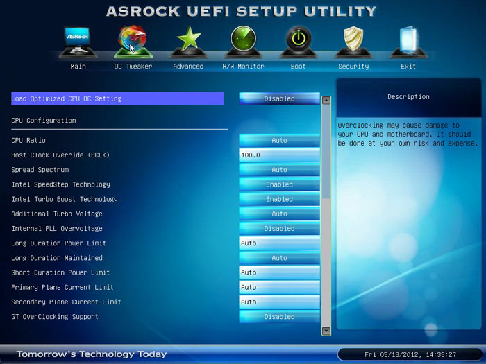 ASRock Z77 Extreme6 настройки разгона 1