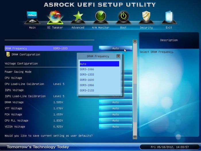 ASRock Z77 Extreme6 частота памяти
