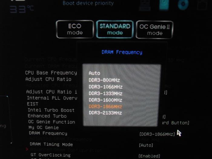 MSI Z77A-GD80 частота памяти