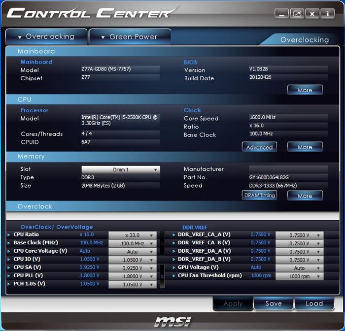 MSI Z77A-GD80 Control Center
