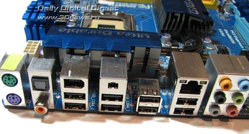 Gigabyte EP45-UD3R задняя панель