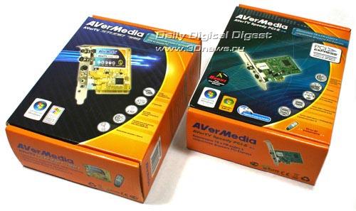 ...похожих друг на друга небольших картонных коробках традиционных для последних моделей AVerMedia цветов - оранжевом...