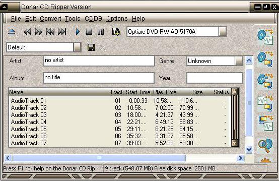 Программа позволяет сохранять музыкальные композиции в форматах MP3