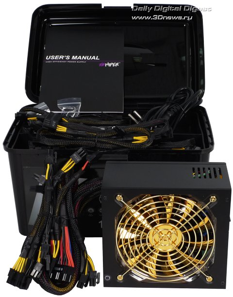 Комплект поставки Hiper K1000 включает сам блок питания, силовой кабель, два пакетика с крепежом, стяжки-липучки для...