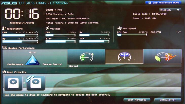 ASUS предлагает два режима работы оболочки BIOS: EZ-Mode и Advanced mode.  Базовая система ввода-вывода представляет...