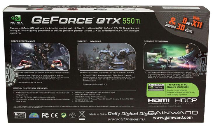 Бюджетный снайпер. Обзор Gainward GeForce GTX 550 Ti GS / Видеокарты