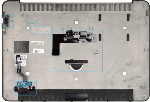 1 — нижняя, часть раздвижного разъем RJ-45; 2 — индикатор заряда аккумулятора; 3 — крепление вышеописанного шильдика