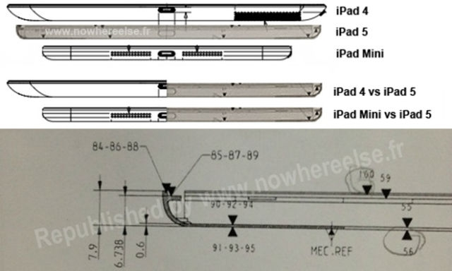 Документы,опубликованные Nowhereelse.fr, показывают чертеж iPad с тонким профилем похожим на iPad mini.