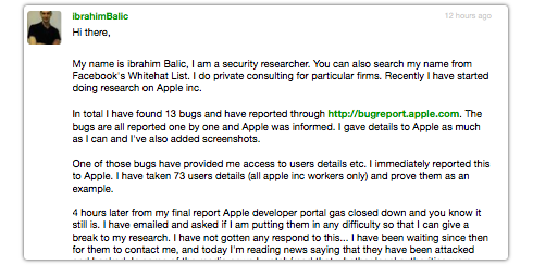Turkish programmer to break into the Apple Dev site Centre, did not want to cause harm