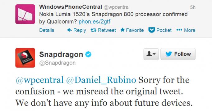 Qualcomm нечаянно подтвердила Snapdragon 800 у фаблета Lumia 1520
