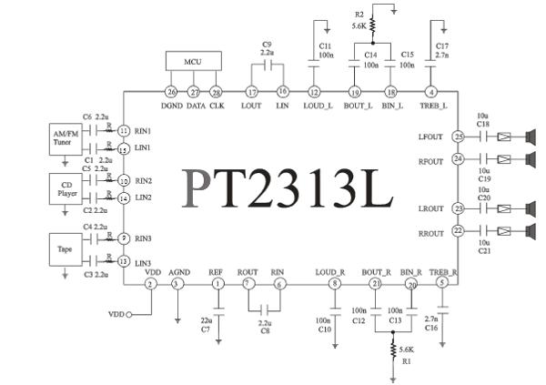 на CMOS-чипе PT2313L