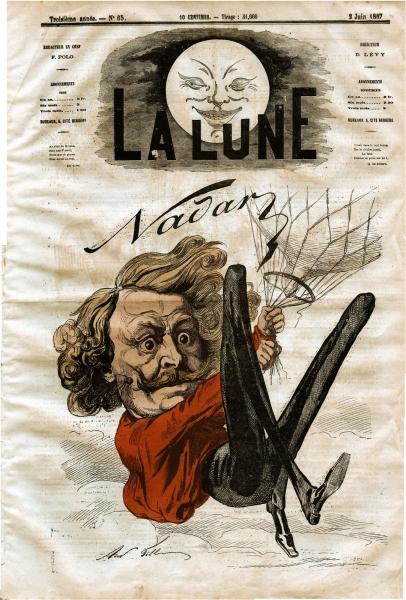 Карикатура на Надара, размещенная на обложке журнала La Lune 1867 года