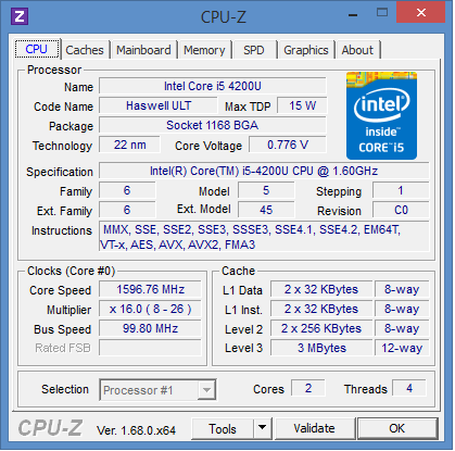 Toshiba Portege Z30-A-M5S: cpu information