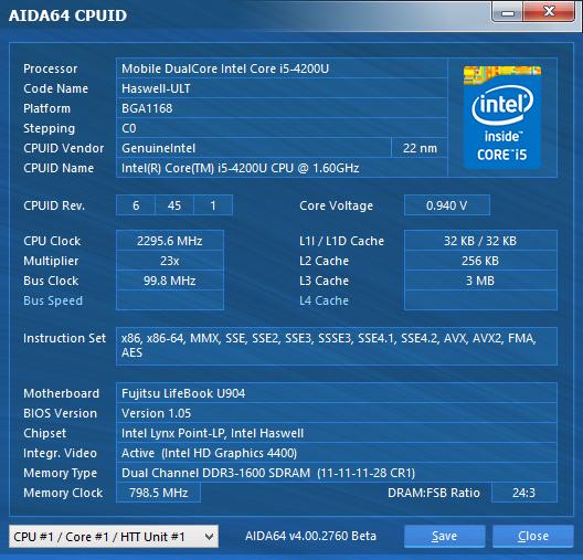 Fujitsu LifeBook U904: CPU information