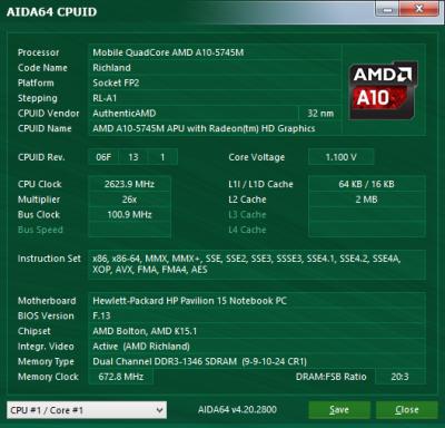 HP Pavilion 15-n029sr system information: CPU