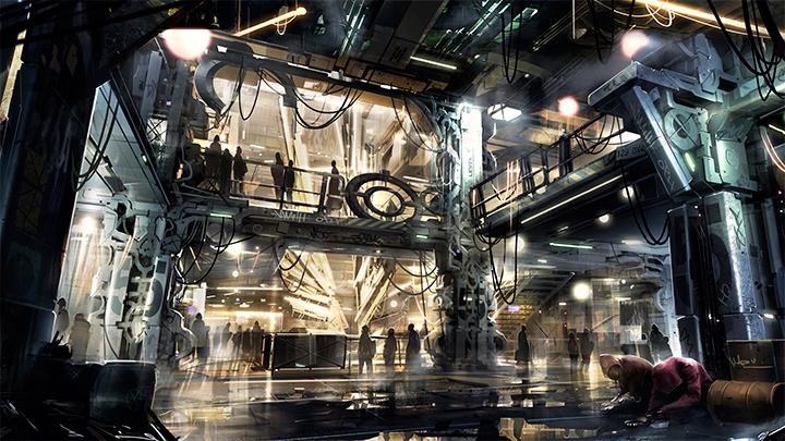 Концепт-арт Deus Ex Universe, изображающий гетто антиутопического города