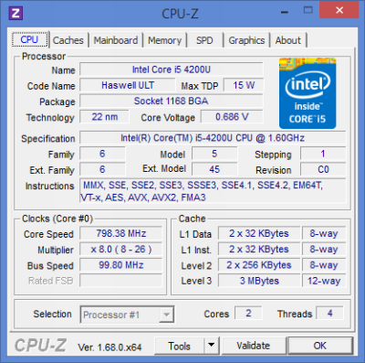 Dell Inspiron 7537: cpu information