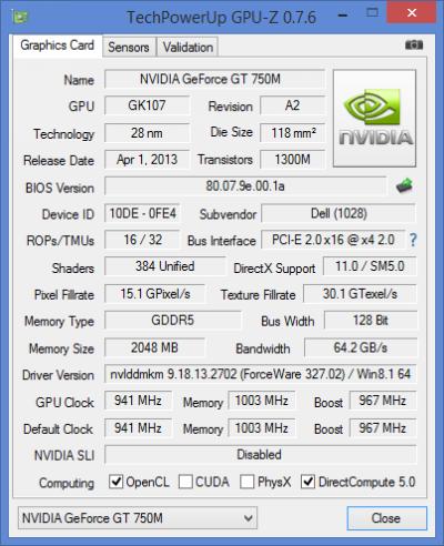 Dell Inspiron 7537: Discrete GPU Information