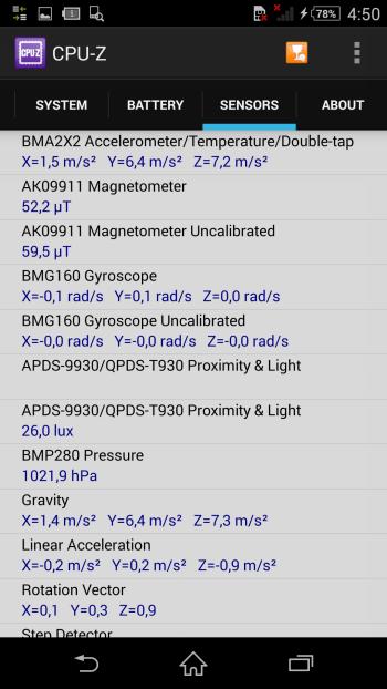 Sony Xperia Z2 system information: sensors