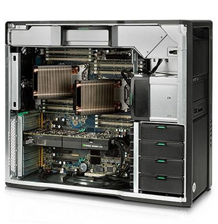 Z640 изнутри: ничего лишнего. Интересная конструкция процессорных радиаторов.