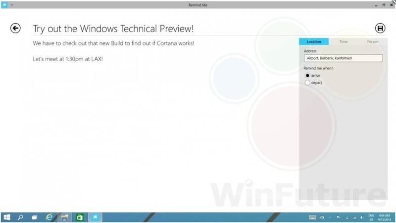 Cortana в Windows 9 Technical Preview