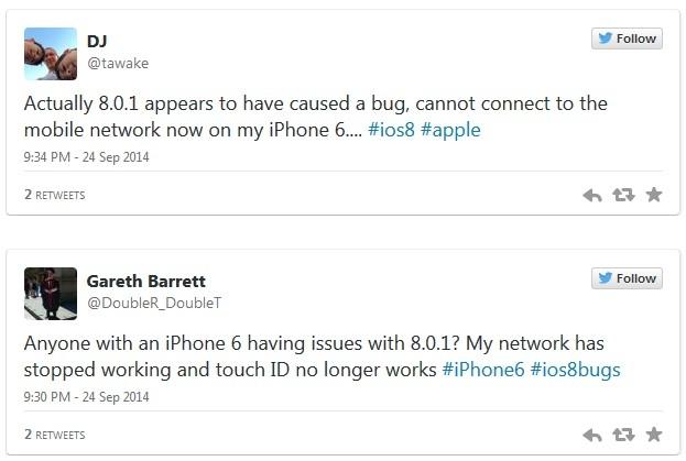Жалобы пользователей на iOS 8.0.1