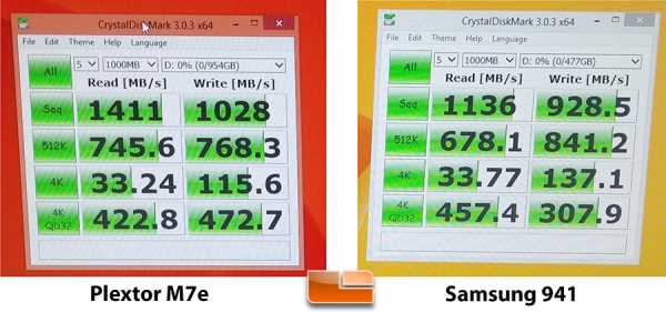 Plextor M7e против Samsung XP941 в CrystalMark